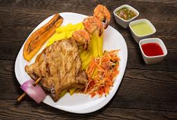 Pincho Chuleta de Cerdo y Camarón