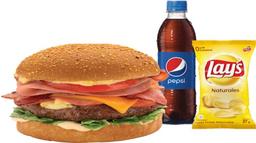 Hamburguesa Meat Lovers+ Gaseosa 400 mL+ Snack