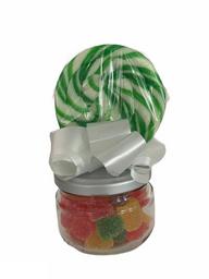 Jarro de Cristal Con Paleta y Gomitas de Colores
