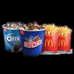 McFlurry Oreo + McFlurry Crunch + 2 Papas Grandes
