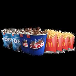 2 McFlurry Oreo + 2 McFlurry Crunch + 4 Papas Grandes